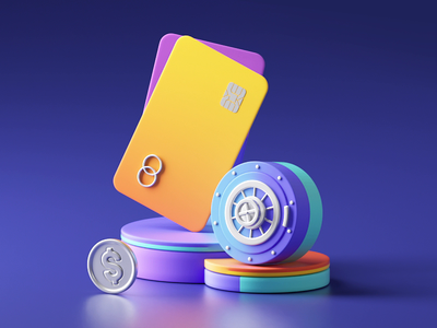 Bank account - 3D loop colorful currency cryptocurrency coin card bank card safe money wallet app cute branding illustration 3d loop c4d animation motion gif