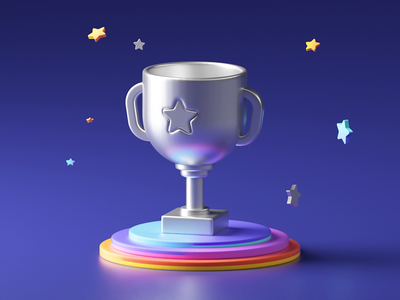 Trophy 3D loop gold game silver treasure prize star trophies win reward cup success trophy cute illustration 3d loop c4d animation motion gif
