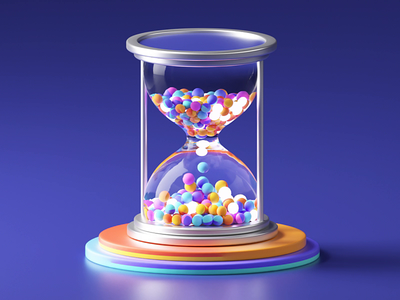 Hourglass - 3D Loop cute watch hourly timer colorful glossy glass hour soon coming soon time hourglass branding illustration 3d loop c4d animation motion gif