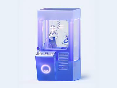 Flooz 3D Loop transparent icon joystick videogame neon metal machine claw claw machine branding app illustration 3d loop c4d animation motion gif