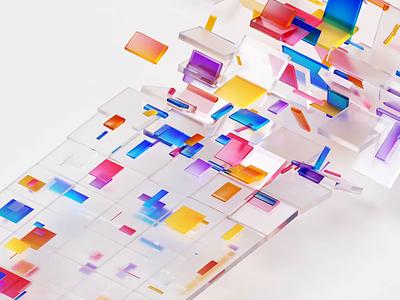 Microsoft 3D motion strip band square sequence camera motion design branding cubes datas microsoft glass colors design illustration 3d c4d animation motion gif