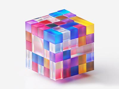 Microsoft cubes 3D branding microsoft puzzle transparent rubiks cube ice glossy transparency colors cubes cube octane illustration 3d c4d