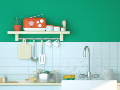 3D Kitchen bubble sponge cactus radio spoon wood 3d cartoon render c4d kitchen