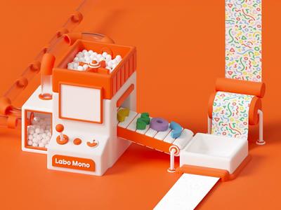 Labo Mono Animation satisfying pattern machine toy orange design cute octane illustration 3d loop c4d animation motion gif