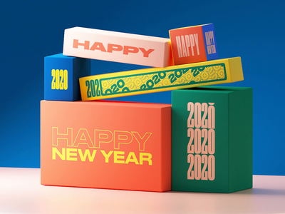 2020 - Loop 3d animation typography wish card newyear font typo cgi octane aftereffect 3d loop c4d animation motion gif 2020