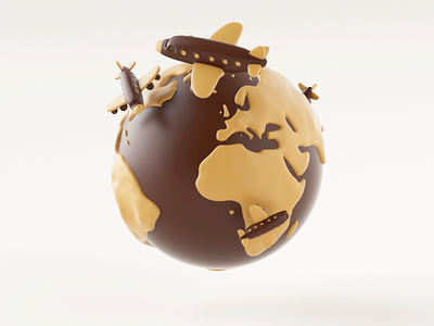 Loop - Airplane chocolate travel world earth aircraft airplane 3d illustration design octane aftereffect c4d loop animation motion gif