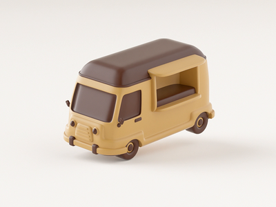 Hover 01 Van 1 hover tracker gps bend map chocolate old truck car van cute aftereffects octane illustration 3d c4d loop animation motion gif