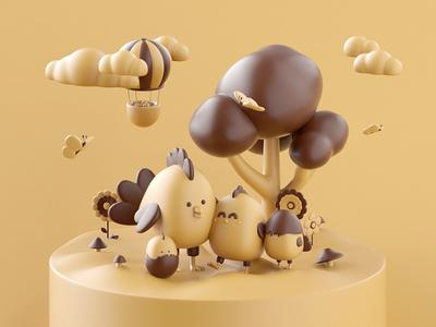 Family portrait forest mushroom chick family balloon landscape nature set design butterfly flowers flower cloud chicken illustration 3d c4d loop animation motion gif