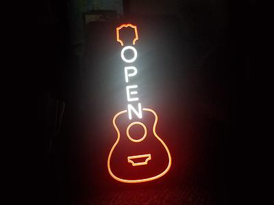 Open Neon open sign open guitar neon slim chickens