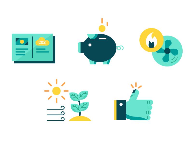 Environment  / Savings Icons clean energy savings environment illustrator vector