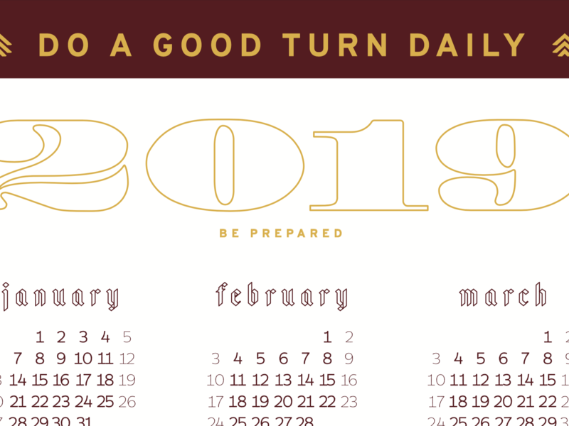 2019 Calendar - TWS Troop #924 christmas spokane the woodshop blackletter lettering typography scouts 2019 calendar