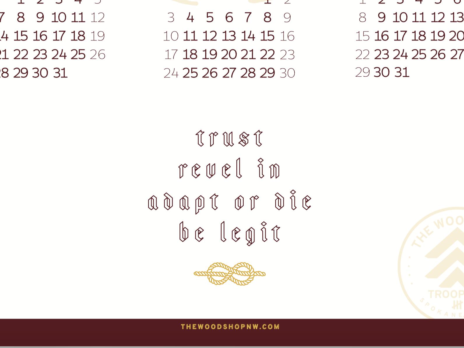 2019 Calendar - TWS Troop #924 rope knot blackletter 2019 christmas scouts typography spokane the woodshop calendar