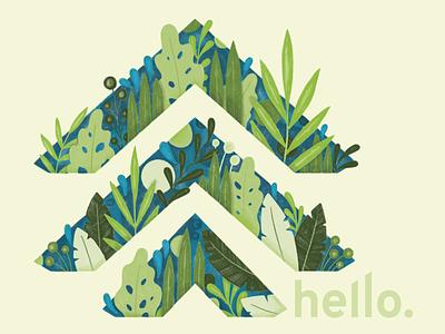 TWS Postcard florals the woodshop spokane hello postcard jungle leaf illustration floral