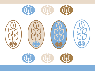 Coffee Bean & Wheat stamp illustration lettering typoography monogram branding wheat coffee
