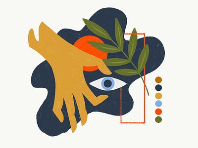 take this sun floral leaf eye hand illustration