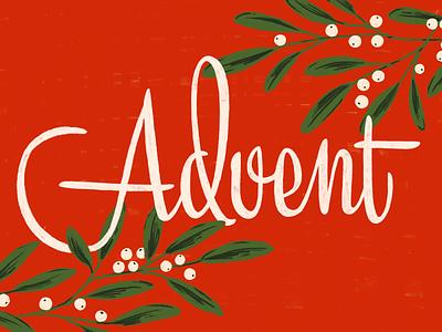 ADVENT 2019 floral illustration mid century modern lettering mistletoe christmas advent