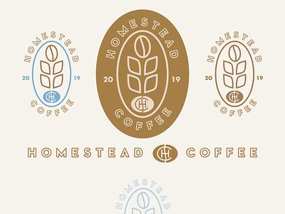 Homestead Coffee hand lettering homepage typography logo coffee bean wheat branding coffee