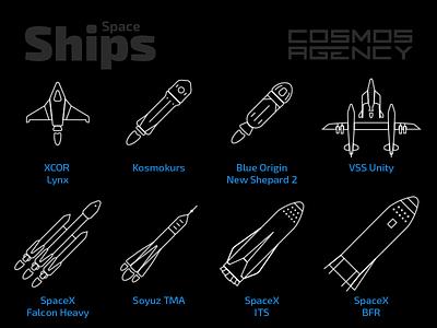 Spaceships Icons vessel spaceship virgin galactic bfr its soyuz falcon heavy spacex blue origin kosmokurs xcor