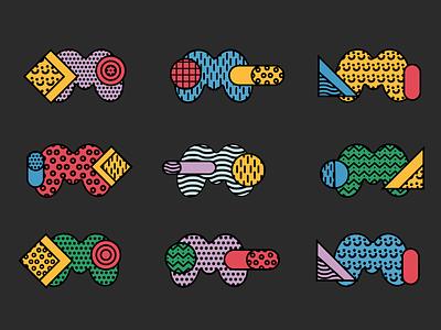 Ⓜ️'M' symbol — colors and patterns, ver. 02 pattern shape illustrator minimal symbol logo letter m