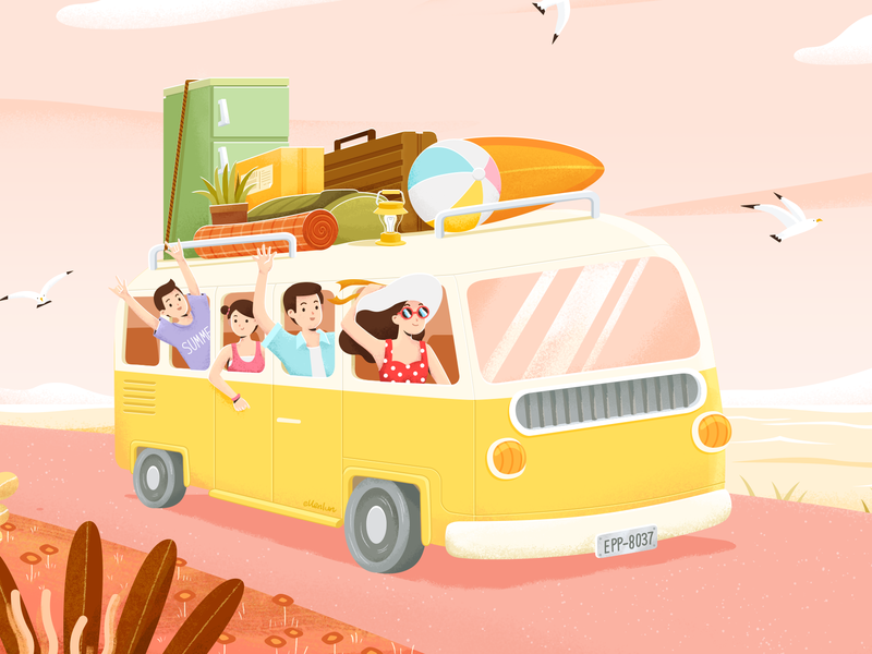 On the way package ball refrigerator road grass seagull surfboard bus travel illustration