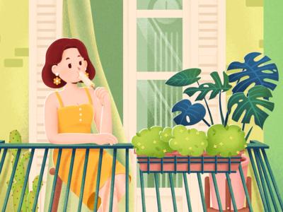 Vacation Home flowerpot girl icecream curtain clock window balcony cactus monstera dress lily illustration