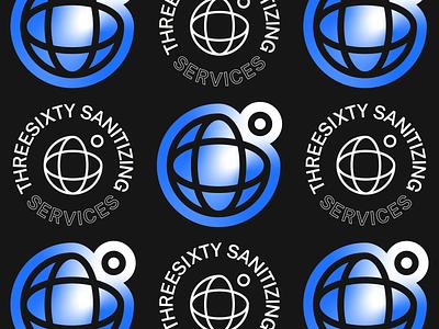 360º Sanitizing Services outline gradient globe icon logotype vector logo illustration typography type design branding