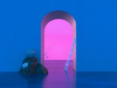 Perspective Enters render surreal color palette color adobe dimension dimension architecture 3d art 3d