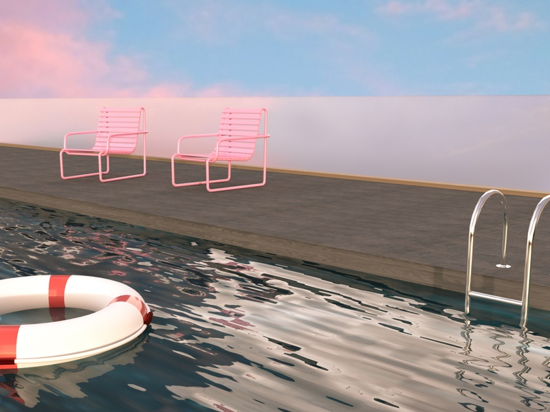Miami Vibes vibe sky pool design 80s adobe dimension dimension 3d artist 3d modeling 3d