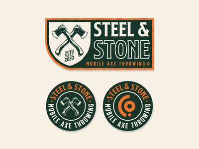 Steel & Stone sport outdoors axe throwing throwing axe logotype vector branding typography design badge logo