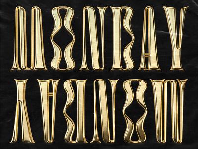 Monday Gold Type metallic branding funky gold chrometype chrome type setting grit metal type metal lettering type typography design