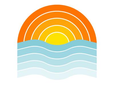 Thick Lines - Sunset thick lines thick lines flat icon design logo vector illustration