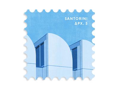 Santorini Greece Postage Stamp greece postage stamp stamp lettering type flat design logo illustration vector icon