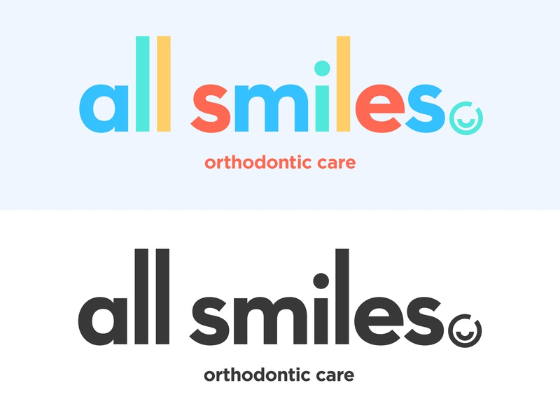 All Smiles colorful color smile logotype flat vector logo illustration branding design typography type