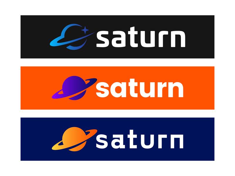 Saturn Logos Concepts gradient icon learning app school saturn flat vector logo illustration typography design