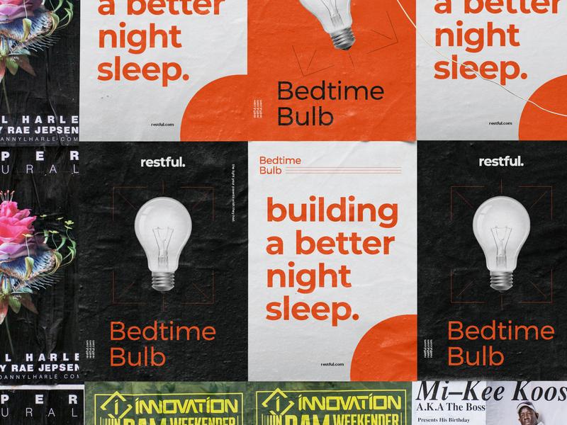 Bedtime Bulb Posters flat design orange assets asset poster logo illustration typography icon branding