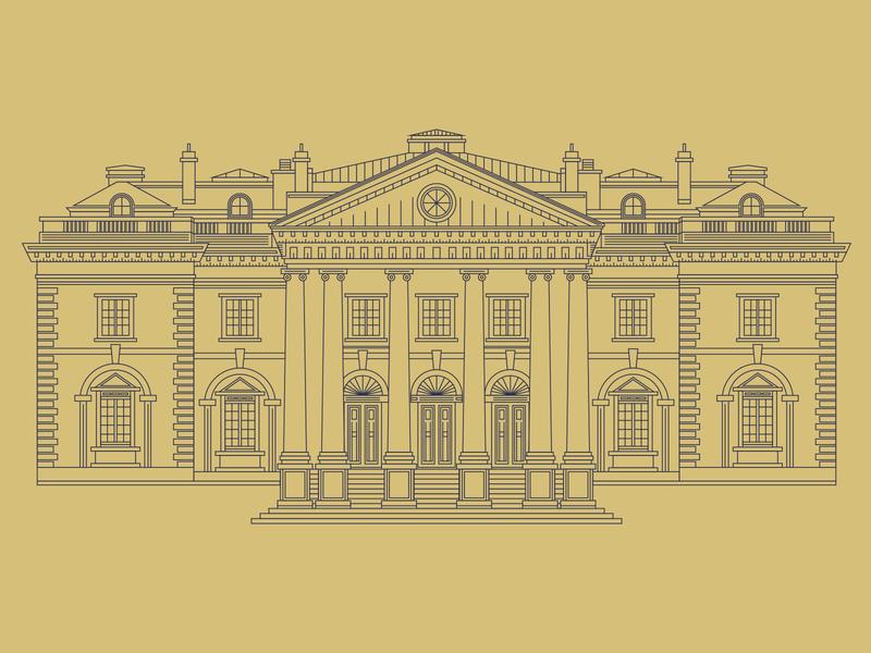 DAR Constitution Hall D.C. line illustration linework icon flat vector design illustrator illustration
