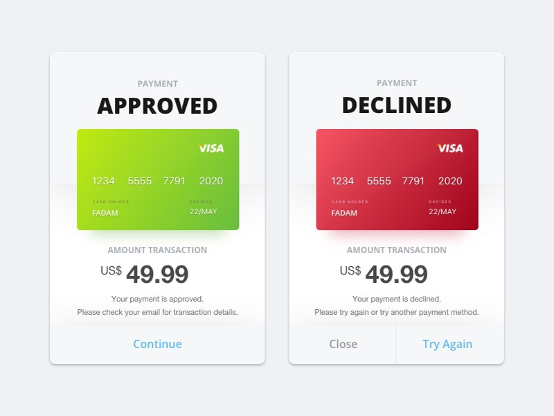 Payment Flash Messages ux ui approved popup message flash declined payment dailyui challenge