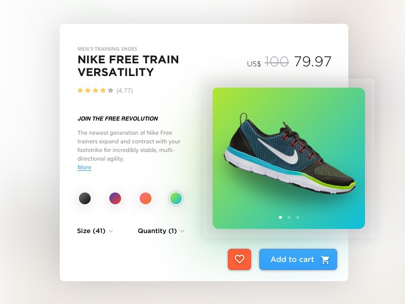 Nike Free Train Versatility - Single Product product single e-commerce website store sketch modern nike ux ui