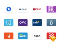 [SKETCH] Indonesian Payment Method Icons doku dimo kudo sakuku paypro tcash gopay ovo logo icon indonesia method payment