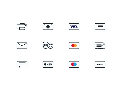 Icons bill voucher pay apple coins cash mail printer cards icons