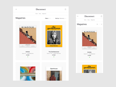 Disconnect - filters grid category sort filter filters ui ux website responsive disconnect magazine eshop ecommerce sale