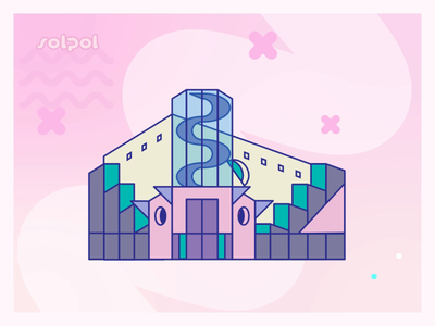 solpol web app vector motion graphic illustration building animated postmodernism architecture
