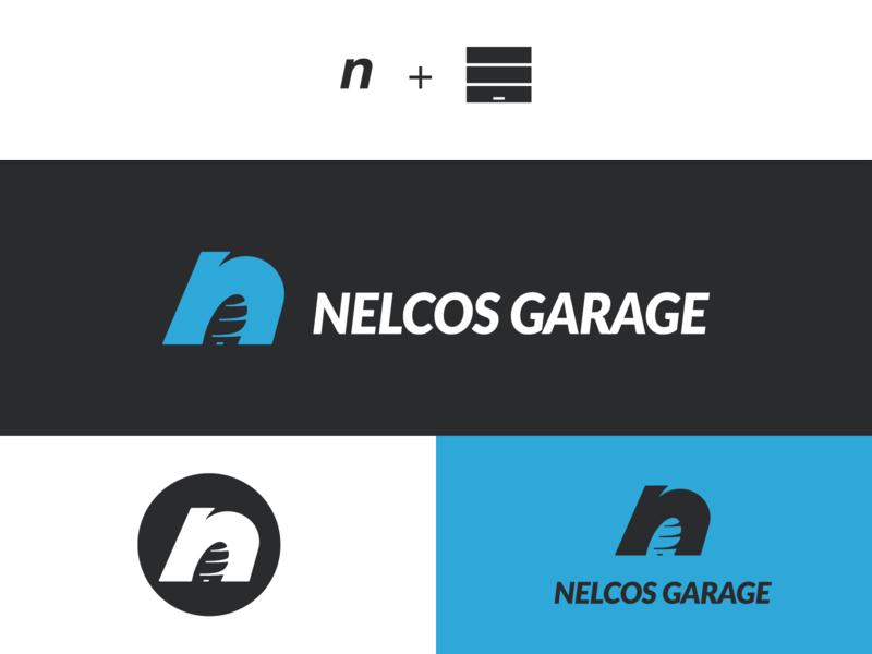Nelcos Garage minimal branding typography logo design