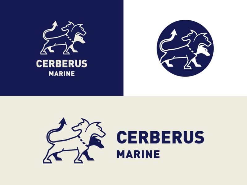 Cerberus Marine icon vector branding typography logo flat design