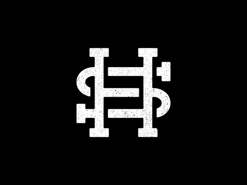 H+S Monogram vector typography illustrator minimal logo branding flat design