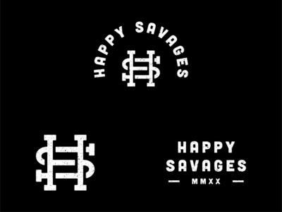 Happy Savages Branding vector typography illustrator minimal logo flat branding design