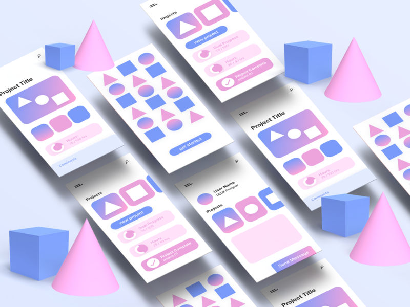 Project Manager App pastel colors shapes 3d dimensions interface design product design xd design xd typography website web app icon ux ui design