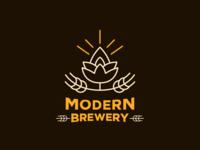 Modern Brewery icon flat typography vector minimal illustrator branding design