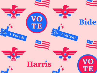 Democracy Pattern harris graphic democracy biden biden harris voted vote2020 vote pattern design graphic design design icon illustration vector illustrator flat pattern