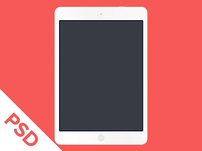 White Flat iPad Air PSD air ipad flat free freebie minimal psd red template white